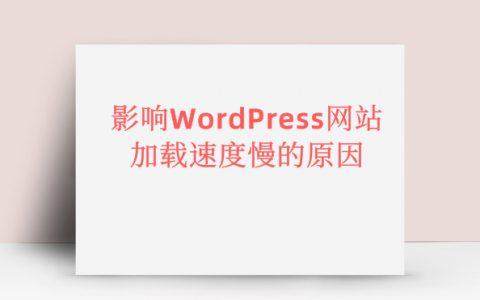 原来这才是影响WordPress网站加载速度慢的罪魁祸首!